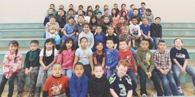 "The Outlook Elementary School students of the month for April are (front row L-R) Franko Samora, Alejandro Figueroa, Eric Lopez and Gunner Porter; (second row L-R) Andrea Almaguer, Marc Garcia, Shantal Santos, Brianna Gonzalez, Azelia Reyna, Jocelyn Roman, Jonathan Sandoval Garcia, Jose Sandoval Garcia, Andres Gonzalez, Cesar Salais and Cooper Porter; (third row L-R) Anamarie Quiroz, Miguel Farias, Keanu Bodine and Cole Bronkhorst; (fourth row L-R) Mikaylee Sanchez, Mario Zamora, Omar Sandoval, Nayeli Cardenas, Gladis Noriega, Daisy Balderas, Gregory Tafoya, Jose Michel and Brayan Villalobos; (fifth row L-R) Artemio Gonzalez, Angel Garcia-Silva, Brian Simon, Emmanuel Garcia, Alexis Pacheco, Malachi Pina, Daisy Chavez, Samantha Magallanes, Susana Coronel, Juan ""Danny"" Moreno and Diana Alvarez; (back row L-R) Hugo Cohetzaltitla, Jose Munoz, Agustin Ramos, Emanuel Pacheco, Eujenia Larios, Shany Bolanos, Andrea Marmolejo, Alma Pacheco, Keira Berrios, Andrew Macias and Jareth Vazquez. Not pictured are Natalie Wagner, Rachel Talamantes and Gisela Reyes."