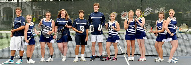 Pictured are Grangeville's 2014 tennis state qualifiers (from left): mixed doubles duo Garrett Kennedy and Taylor Wilkins; girls doubles duo Lily Willig and Savannah Thanstrom; singles competitors Fernando Reigosa, Wyatt Thanstrom and Alex Nuttman; girls doubles duo Alexandria Rockwell and Jenni Forsmann; and girls doubles duo Maicee Conner and Rachel Kelley.
