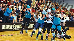 Gorge roller girls hosted the Storm City Rollers Saturday at HRVHS. The bout ended 382-68 in favor of the home team, with Ginger Binger scoring a team-high 104 points.