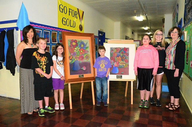 Artist In Residence Camille Hinman (at left) with student artists HOlden Davis, Kismara Bencich, Mikal Goodale, Piper Coe, Charburger Manager Ashley Feeley and Cascade Locks School Principal Kim Vogel.