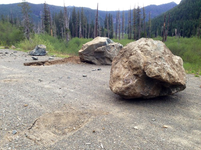 Large boulders have damaged Mount Rainier National Park's Westside Road, which has been closed to the public.