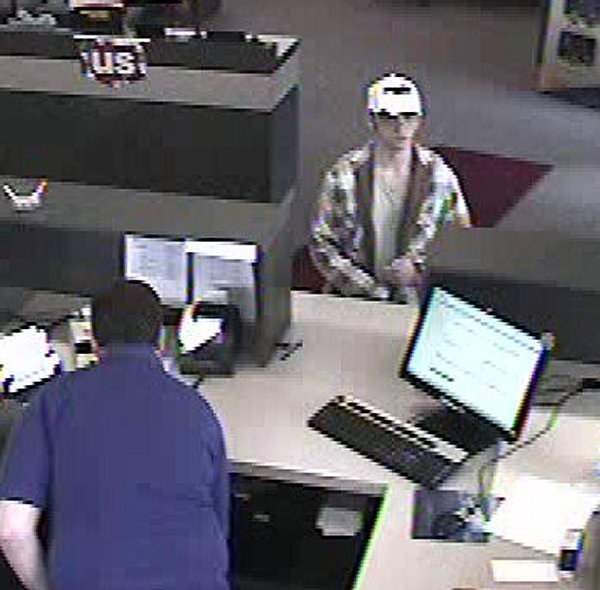 A US Bank surveillance camera photo of the suspect in the Friday afternoon, May 16, robbery. (Courtesy Cottonwood Police Department)