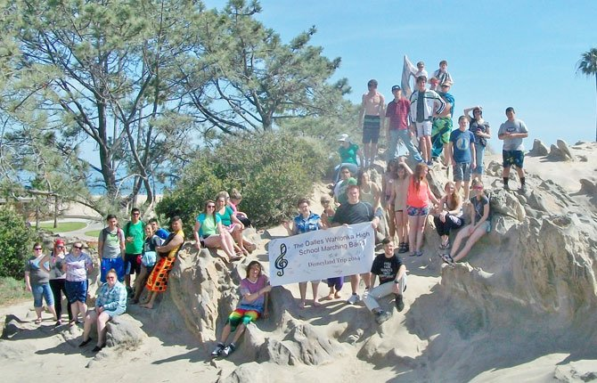 Members of The Dalles High School band pose for a photo at Corona Del Mar State Beach in California after a celebratory barbeque on April 28. 	Contributed photo