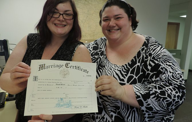 Following Monday's historic judicial decision, Amanda Durnez (left) and Samantha Meyer were married May 21, 2014, becoming the first Hood River County same sex couple to do so in Oregon.