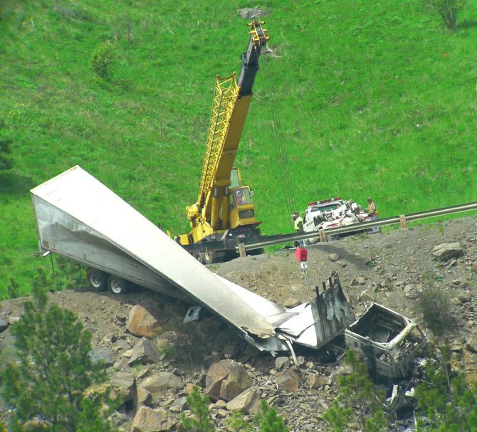 A view Friday morning, May 16, of recovery efforts from the prior evening's fatal semi-truck crash on U.S. Highway 95 near the White Bird summit, milepost 230.