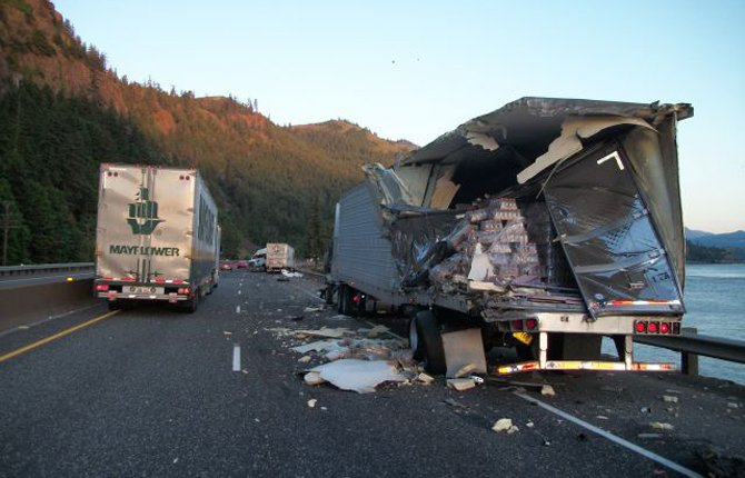 A multi-vehicle crash on Interstate 84 is snarling traffic near Mosier this morning. OSP photo