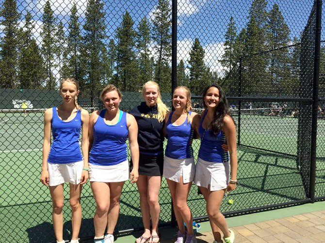 Eagle tennis: HRV girls tennis players Elle Webb, Olivia Newcomb, Maddie Graham, Miranda Starr and Naomi Greenwald pose for a photo during last week's district tournament in Sun River.
