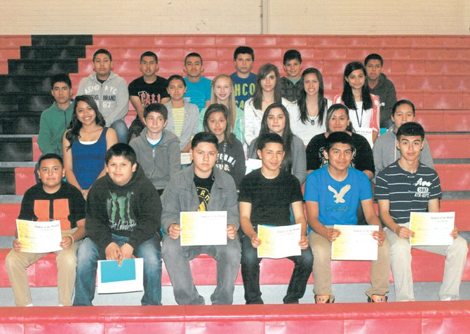 Sunnyside's Harrison Middle School students of the month for May include (front row L-R) Jose Campusano, Miguel Garcia, Angel Zamora, Carlos Medina, Austin Sandoval, and Fidel Acevedo; (second row L-R) Carina Cuevas, John Gomez, Marlene Aguilar, Janese Santos, Maddy Campos and Marlenne Minjarez; (third row L-R) Alex Sanchez, Maira Hernandez, Janessa Frank, Karen Marquez, Emily Moreno and Daisy Abonza; (back row L-R) Leonel Plancarte, Jonathan Garcia, Justin Mendoza, Ulyses Miranda, Leo Madrigal and Sergio Chavez. Not pictured are Anthony Correa, Gustavo Garcia, Adilene Montes de Oca, Ebony Andrade and Cristal Rangel.