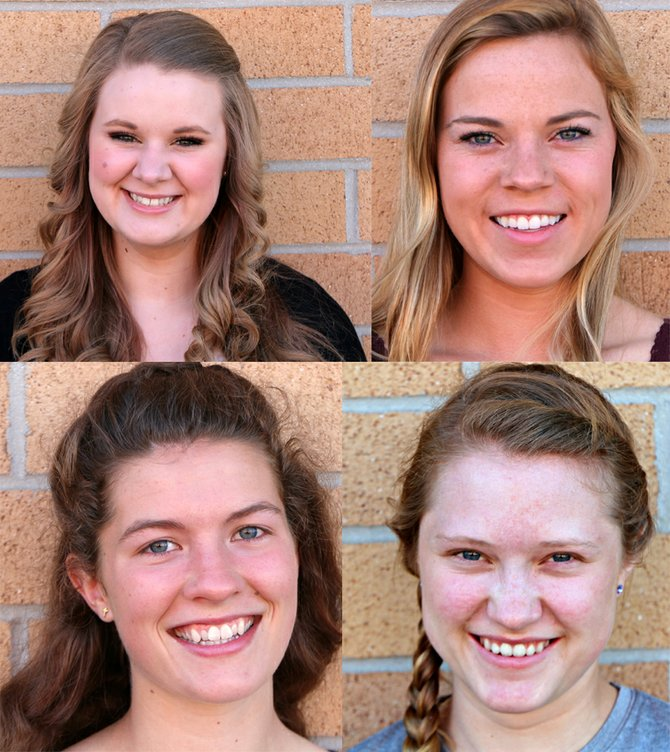 Top (L-R) Abigail Cartright, Arika Arnzen. Bottom (L-R) Kaleala Bass, Kristin Kaschmitter.