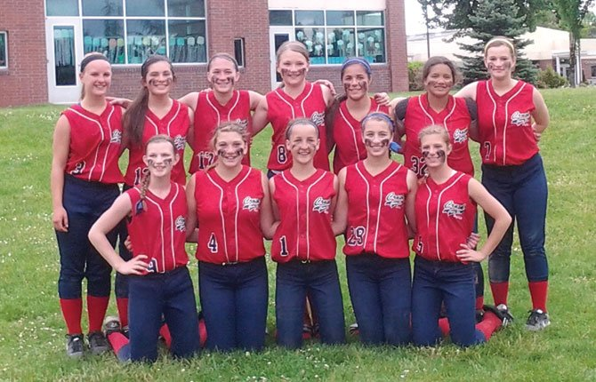 MEMBERS OF the 14U Cherry City Crush softball team pose for a preseason photo in March. The players are (front Row, from left to right), Sarah Helyer, Haley Jones, Kathryn Bradford, Jodi Thomasian and Hannah Wallis. In the back row are (from the left), Luisa Meyer, Zaida Lopez, Emma Weir, Glenda Stewart, Jessika Nanez, Jez Farrell and Chasidy Brumfield. The Crush has amassed an overall record of 8-11 on the year, but they have caught fire late in play as the state tournament looms in late June.