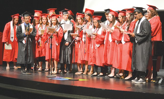 Before their commencement exercises tonight, Friday, about 25 SHS graduates last night recited a religious choral reading during a baccalaureate service.