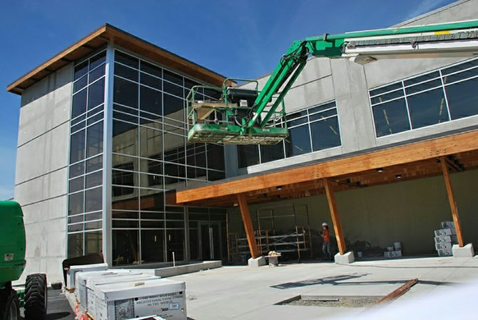 Workers have been finishing up construction on the new Insitu building located on Port of Klickitat property in Bingen, Wash. A ribbon cutting and open house has been scheduled for Thursday, June 12, at 1 p.m. and the first employees are set to start using the building Monday, June 16.