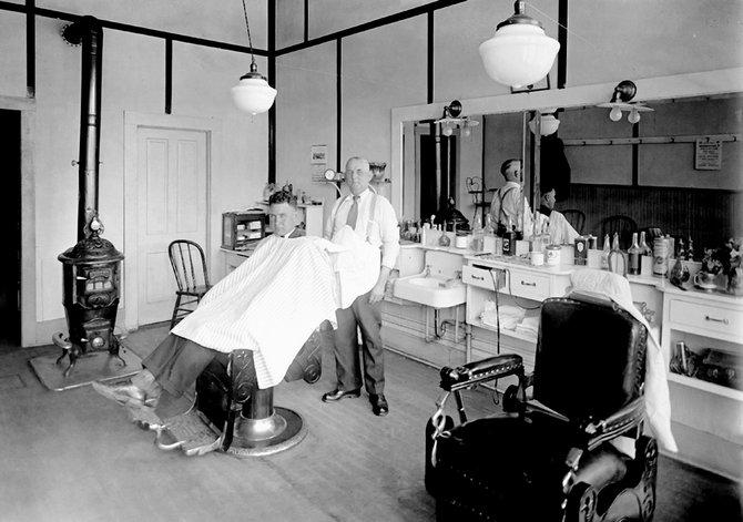 Fran Hogan's Barber Shop in Cottonwood, Idaho. Circa 1925.