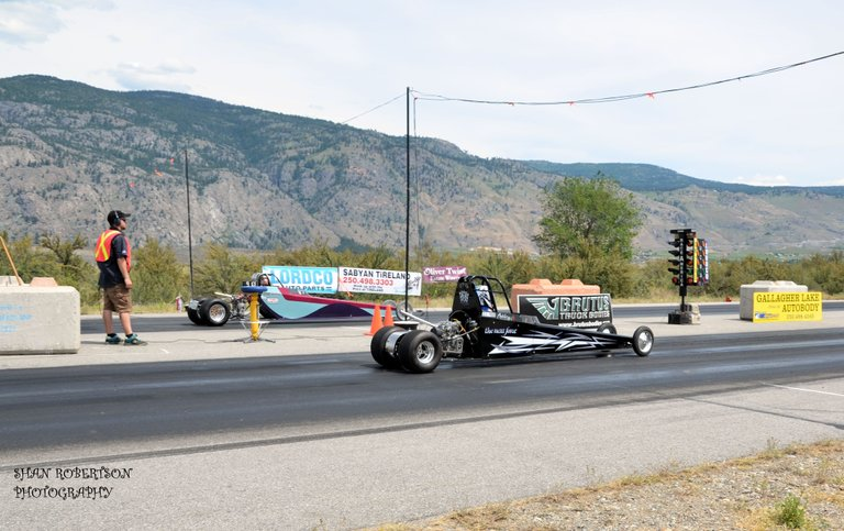 Wine Country Racing Association had two junior dragsters at last Sunday's races west of Osoyoos, B.C. Ashley Clark, 10, of Sicamous, B.C. and Jordyn Lombardi, 11, of Houston, B.C. were traveling at approximately 75 miles an hour when they reach the finish line.
