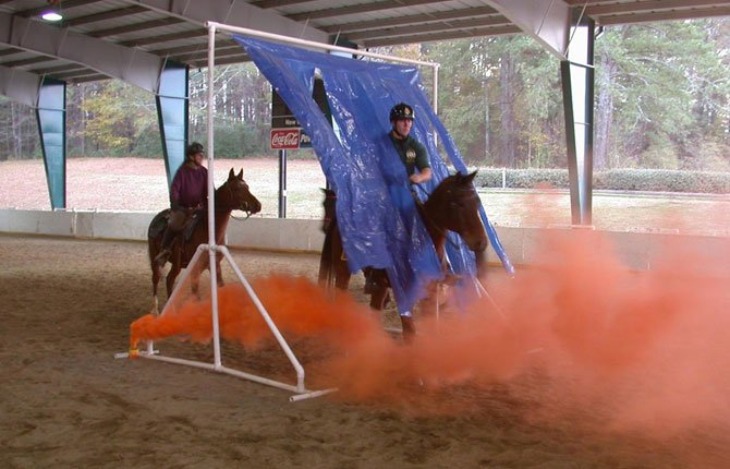 SMOKE AND rustling plastic provide distractions for horses involved in a De-Spooking Clinic and Equine Confidence Course like the one scheduled for June 21 and 22 at the Fort Dalles Riders Arena in The Dalles.
