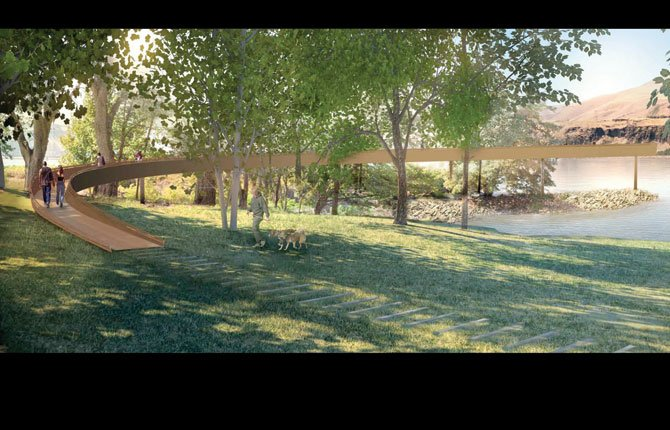 A SWEEPING, ARCED walkway, designed by artist Maya Lin, is meant to be reminiscent of the fishing platforms used to fish from Celilo Falls, now submerged beneath the backwaters of The Dalles Dam. Confluence Project rendering