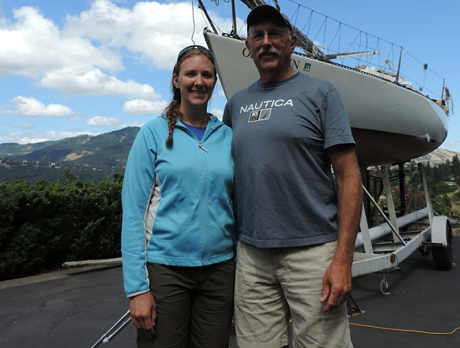 Pacific bound: Kerry Hallyburton and her father, Stan Perkins, of Hood River, are nearly ready to take the Mirage by trailer to San Francisco on Tuesday, where they will start the two-week Pacific Cup race from California to Hawaii.