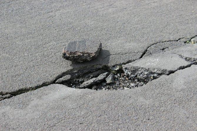 Cracked asphalt on the Idaho County Airport runway.