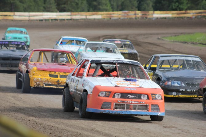 The Fever-4 class heads down the backstretch of Eagle Raceway Track during racing action Saturday in Republic.