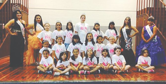 Participating in Mabton's Princess for a Day camp last weekend were (front L-R) Aneisa Castro, Jaidyn Barajas, Eleyna Nunez-Rodriguez, Lanyea Martinez, Angelica Silva, Katalina Rodriguez and Avelynn Antram; (middle row L-R) Jazzlyn Torres, Trinity Barajas,  Daisy Avila, Lexani Saminego,  Abril Guevara and Natalee Gange; and (back L-R) Miss Mabton Esperanza Leon, second princess Araceli Velasquez, Jezebel Ramirez, Shelby Kollmar, Lucia Gonzalez, Americus Alltus, Andrea Guevara, Sophia Tovar, first princess Angela Martinez and Little Miss Mabton first princess Lily Villa.