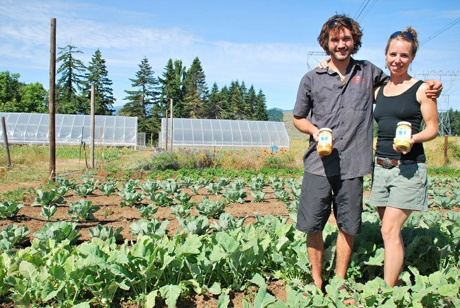 "Colin and Kristin Franger stand among kohlrabi and cabbage at their farm up Snowden Road. The Frangers and their business, Blue Bus Cultured Foods, will be among the newest additions to the White Salmon Farmers Market this summer and will provide fermented foods, like sauerkraut, ""kraut-chi,"" and kombucha."