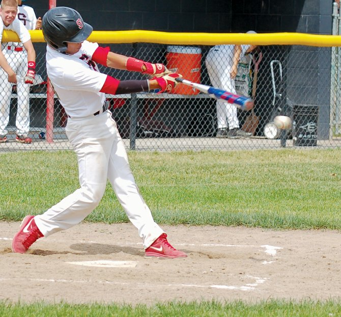 Sunnyside's Jacob Mendoza tries to connect at the plate during yesterday's home twin bill.