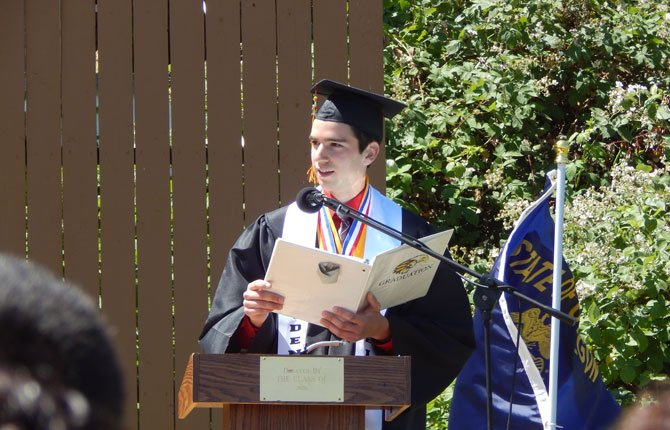 COLE MCDOWELL speaks as valedictorian at The Dalles High School graduation this year.	Contributed photo