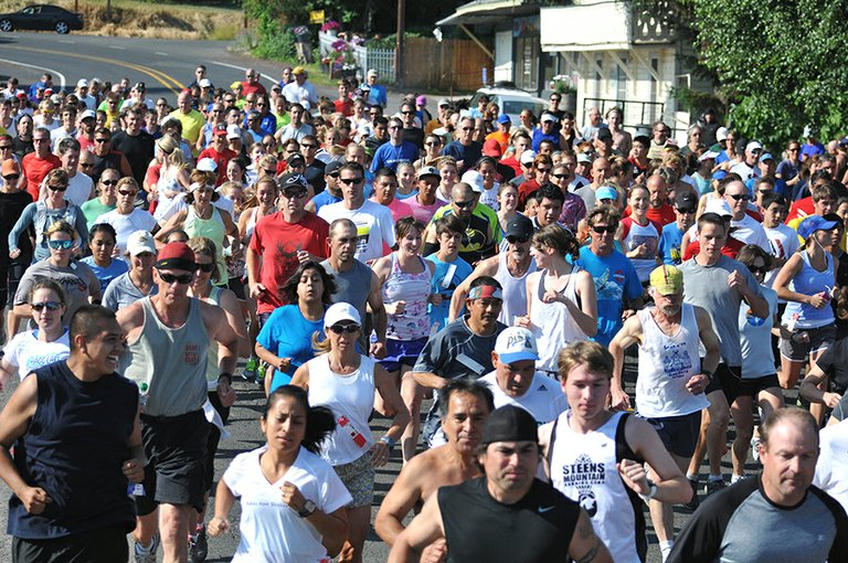 the mass start of the annual July 4 Kollas-Cranmer Memorial Run is a sight to see. Organizers expect about 300 runners to participate this year.