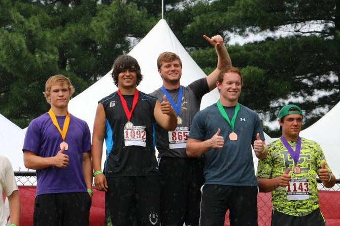 Drew Lindsley (second from left) with other top finishers at the 2014 USA Youth Outdoor Track & Field Championships on Saturday, June 28.