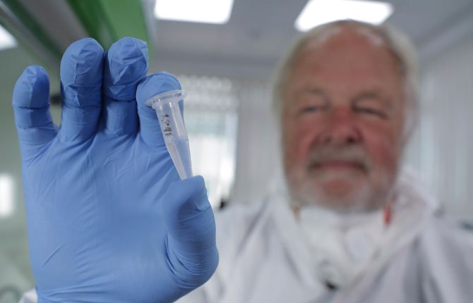 Oxford University genetics professor Bryan Sykes posed with a prepared DNA sample taken from  hair  from a Himalayan animal.  DNA testing is taking a bite out of the Bigfoot legend. After scientists analyzed more than 30 hair samples reportedly left behind by Bigfoot and other related beasts like Yeti, they found all of them came from more mundane animals like bears, wolves, cows and raccoons.