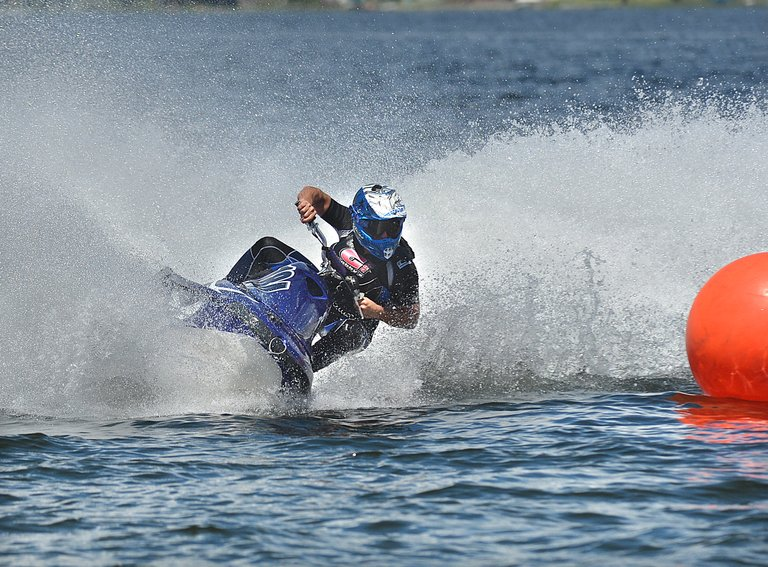 James Beamish of Spokane sweeps around a buoy on the watercross course during Lake Osoyoos Cup racing action Saturday at Deep Bay Park.