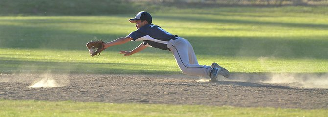 A seventh inning snag by Michael Hasegawa (top) set up a double play with shortstop Grayson Losee.