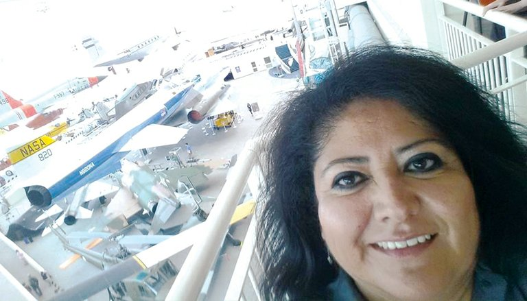 """This is a 'selfie' photo shot overlooking my office space in the museum,"" said Sunnyside's Teri Alvarez Ziegler, who spent a week at Seattle's Museum of Flight in late June."