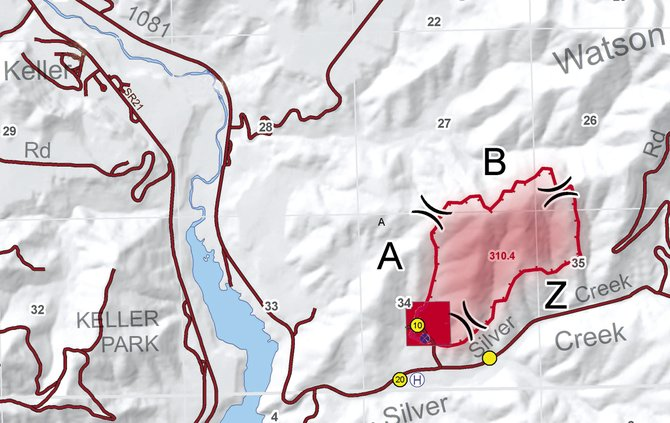 The shaded area in red shows the approximately boundaries of the Silver Creek II fire, burning in steep terrain on the Colville Indian Reserve near Keller.