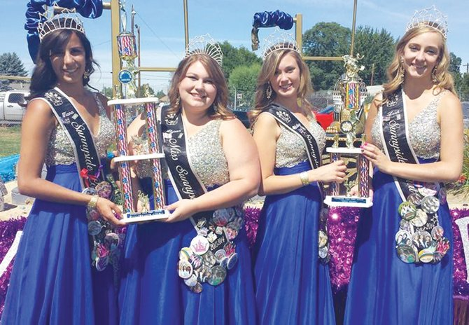 "The Miss Sunnyside community float ""Egyptian Treasures"" was awarded   the Toppenish Pow Wow Rodeo Parade's Sweepstakes trophy last Friday at the annual parade. The float and court also earned the first place trophy in the civic category, based on community size. Pictured (L-R) are Princess Tiana Perez, Miss Sunnyside Alyson Spidle and Princesses Ashley Davis and Leah Diddens."