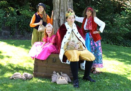 "FREE PLAYS in the Park celebrates its eighth year with ""King Midas and the Golden Touch,"" Saturdays, July 12 and July 19, at 11 a.m. at The Dalles City Park. The performances are presented by the Theatre Company of The Dalles and Northern Wasco County Parks and Recreation. Bring lawn chairs or blankets to get comfortable for some family fun. A shade structure and sound system are new this year. The play centers on King Midas, who is too greedy for his own good. He already has so much gold that he needs the help of children in the audience to count it. But he still wants more. When a friendly sorceress, Glenna, visits his kingdom, he talks her into granting him one wish: that everything he touches turns to gold. The results are far from what the king expected. Audience children will help the king learn a valuable lesson, that gold alone isn't enough to make you happy. Cast includes, pictured from left, Avery Cardosi as Nicky the Page, Faith Gouge as Marian, Ian Webb as King Midas and Brenda Green as Glenna the Sorceress.	Contributed photo"