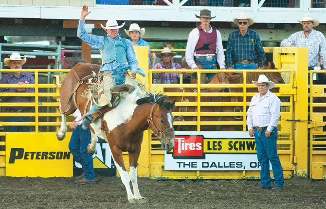 SADDLE BRONC riding is one of the many competitive events that make up the Fort Dalles NPRA Pro Rodeo, which plays out at Milt Tumilson Arena Thursday through Saturday, July 17 to July 19, in The Dalles.Chronicle file photo