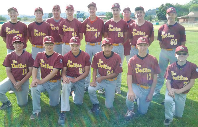 THE DALLES 14U All Stars are prepped for the Babe Ruth State Tournament this week at David Douglas. The players are (in front row, from left to right), Kristos Kiser, Tylen Webster, Jacob Justesen, Jose Gonzales, Chad Hester and Jacob LaFrenz. In the back row are (from left), Kolbe Bales, Connor Uhalde, Manager Jeff Justesen, William Justesen, Brody Woods, Trey Homer, Coach Kurtis Woods, Bailey Keever and Bradley Moe.