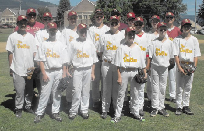 THE DALLES' 13U Babe Ruth All Stars are set to hit the diamond for state action starting tonight and running until July 19 for pool play at West Linn. The players on the postseason roster are (pictured from left to right, in the front row), Colton Baughn, Connor Baughn, Jordan Wetmore, David Wring, Emilio Penedo, Andrew Carlock and Bailey Hajicek. In the  middle row are (from left), Harry Wilde, Trent Hough, Brandon Smiley, Henry Lee, Hagen Pence and Jerejiah Brittle. In the back row are (from left), Coach  James Baughn, Coach Octavio Pinedo and Manager  David Hough.