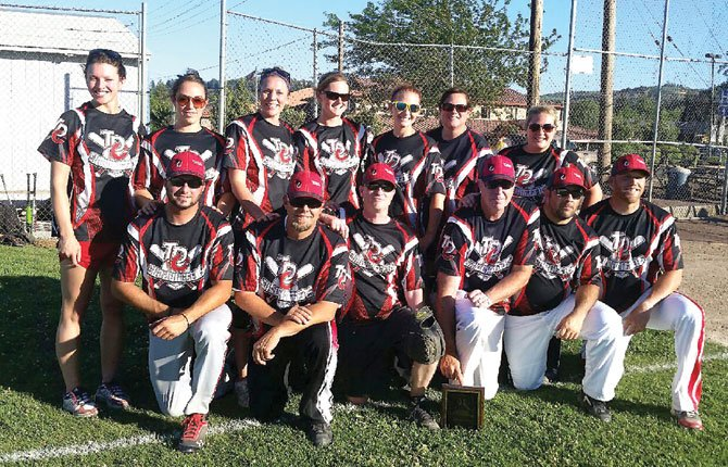 THE DALLES CONCRETE Sandbaggers completed a 17-1 season with a 13-4 victory Wednesday over Zim's Brau Haus in the championship game for their fourth consecutive North Wasco County Parks and Recreation softball crown. In the game, Jeff Miller held Zim's to seven hits and slugger Devin Crye rifled his league-leading 15th home run of the season as part of a four-run second inning to start the TDC rally. Contributed photo