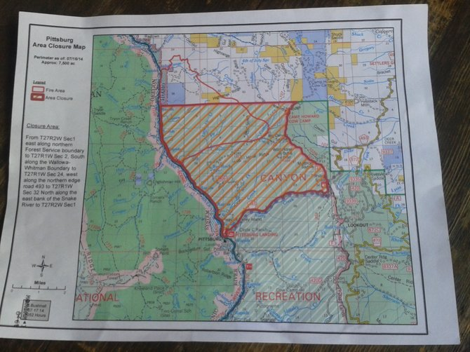 Pittsburg Fire map, July 17 closure area.