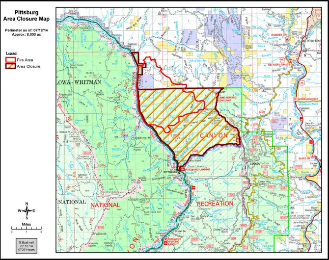 Pittsburg Fire map with closure area, July 18.