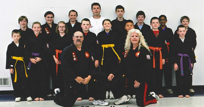 Pictured is the recent class photo for most of the students and staff for the Goju Shorei Karate Klub.