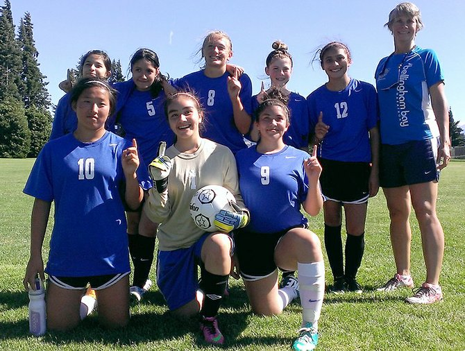 Hood River Middle School soccer players and Gorge-area league champs (back row) Frida Carrillo, Monica DeLaRosa, Erin Sutherland, Maggie Johnson, Yaya Chavarria, (Coach) Angie Adkins, (front row) Emma Freil, Dulce Elizondo and Martika Lane (not pictured, Mattea Martinez, Emily Sandoval and Maria Garcia).