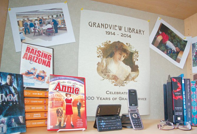 Now that she has completed her pictorial of Grandview's history, author Ruth A. Dirk finds herself working on programs celebrating the Grandview Library's centennial.  Her handiwork has been seen in several historical displays; such as this one, marking the passage of literary history in the Grandview community.