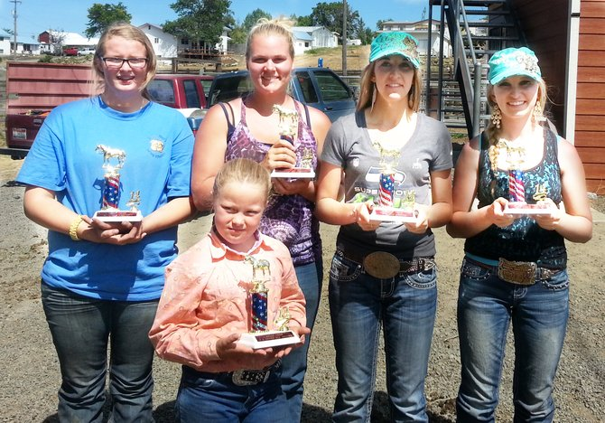 These are the all-around winners of the Triple Bar Drill Team O-Mok-See held last Sunday, July 27: Darlene Matson (front), (L-R) Colby Canaday, Stephanie Bentley, Grace Vopat and Jayde Wilson. Not pictured are the respective queen and princess winners, Micaela Farris and Jillian Hausladen.