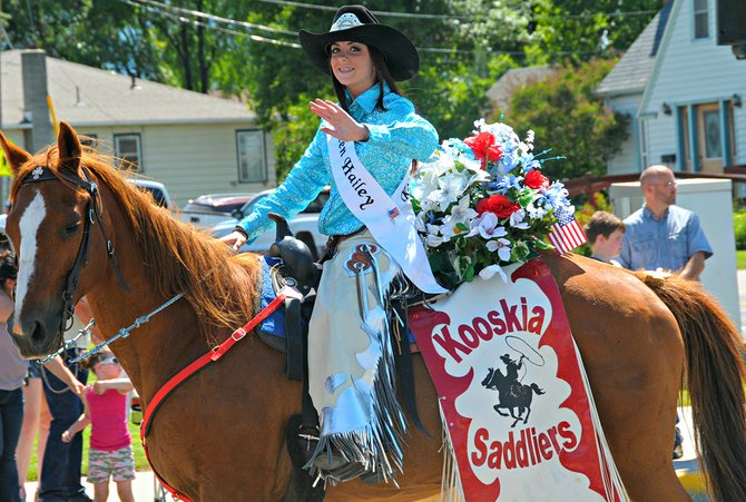 Hailey Russell, Kooskia Saddliers Queen 2014, is seen here at one of the Border Days parades in Grangeville.