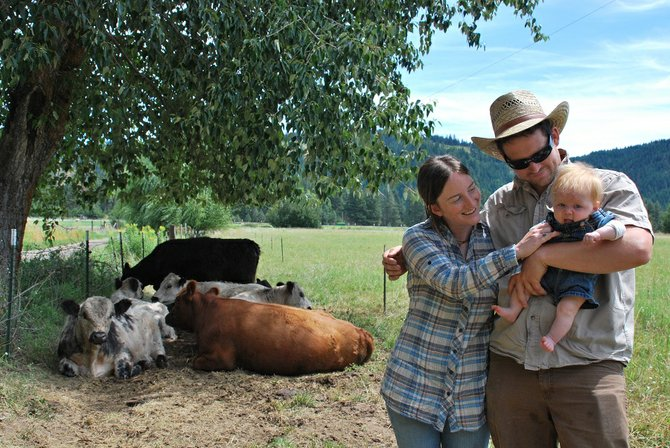 In March, Rebecca Wellman and Mike Kelly welcomed Aspen as the newest member of the Sunnybrook Farm family. Fresh, organically raised beef and pork from Sunnybrook Farm can be found at the White Salmon Farmers Market every week and can also be purchased at the farm's store at 573 Sunnyside Rd. in Trout Lake.