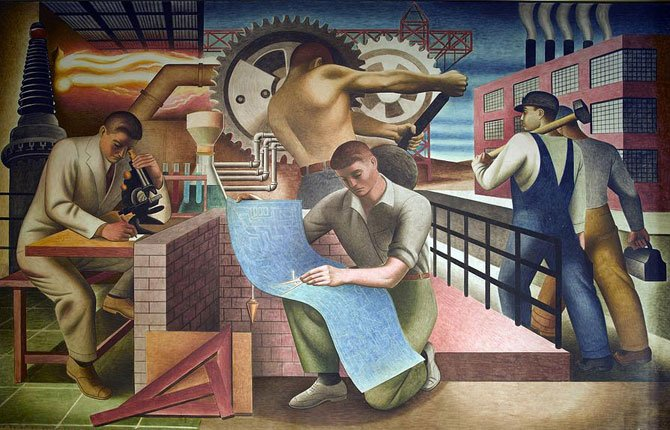 WPA labor mural by Charles Klauder.