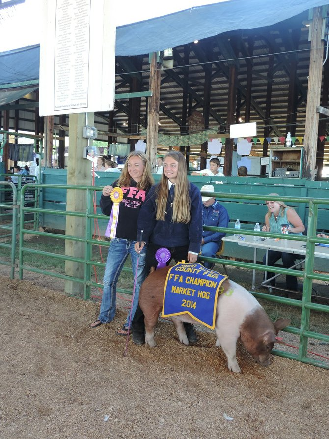 WINNING BIDDER Chrystal Molesworth of Munson Orchards poses for a photo with Chloe Goodwin and her Grand Champion market hog. Turn to page A10 for the start of fair results, beginning with 4-H.